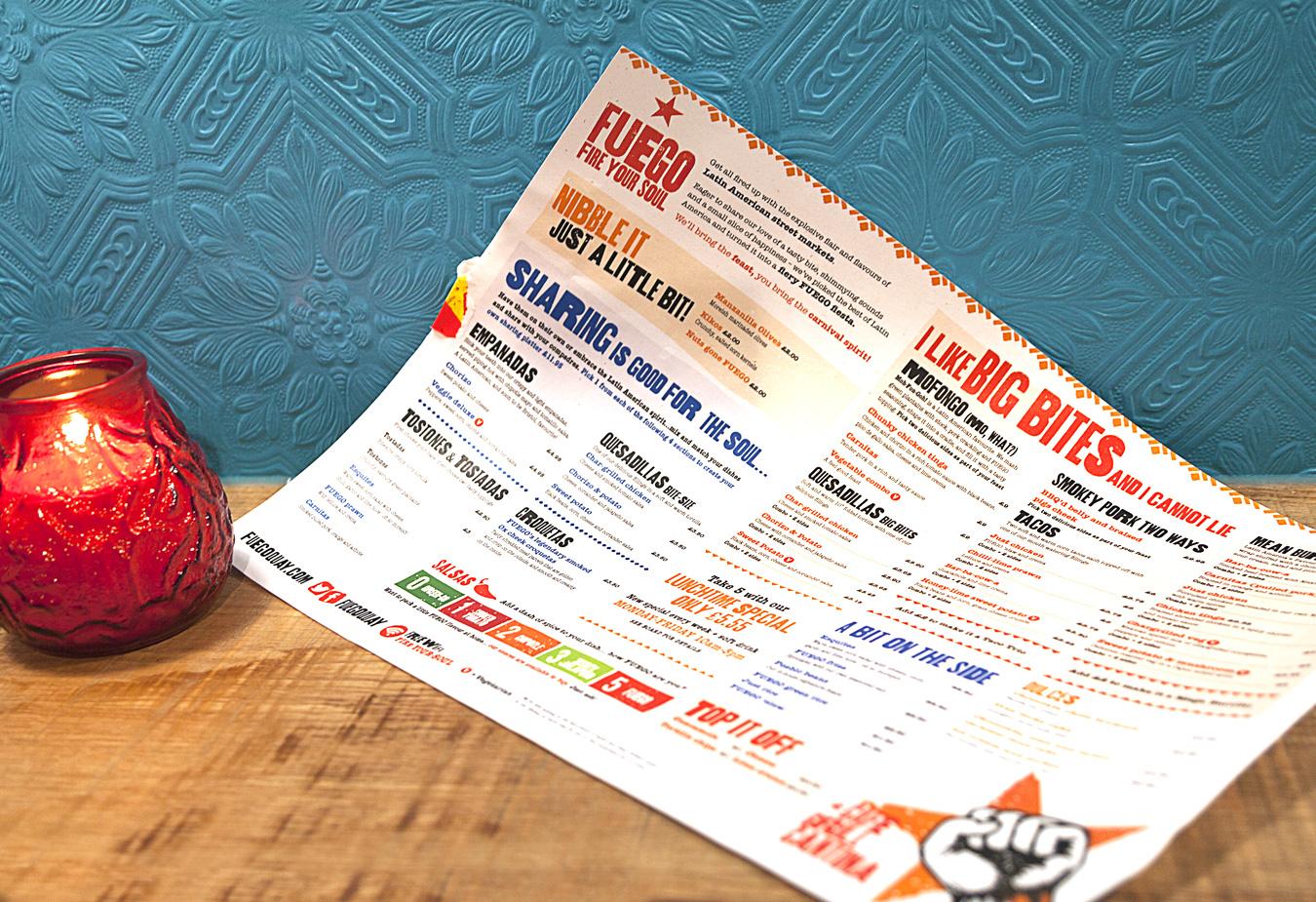 FUEGO menu